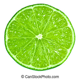 Green Limes - A very green lime cut in half exposing the...