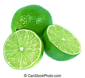 Green Limes - Two green limes. One is cut in half. Very ...