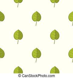 Green linden leaf pattern seamless