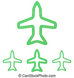 Green line airplane logo design set