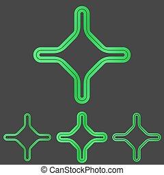 Green line corporate logo design set