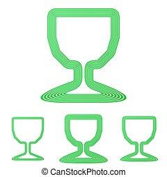 Green line cup logo design set