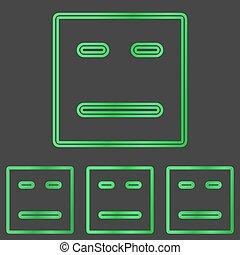 Green line face logo design set