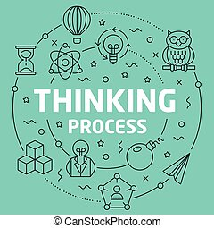 Green Line Flat Circle illustration thinking process