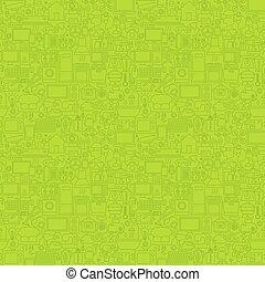Green Line Household Seamless Pattern