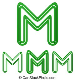 Green line m logo design set