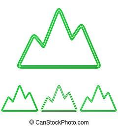 Green line mountain logo design set