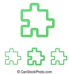 Green line puzzle logo design set