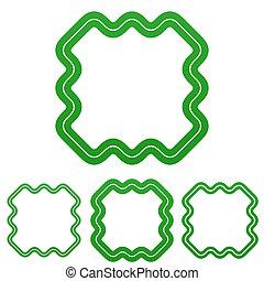 Green line technology logo design set