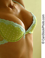 Green linen - Beautiful part of a body of the girl