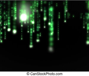 Green lines blurred letters falling - Background of green...