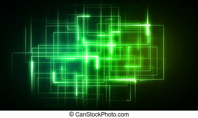 Green lines forming geometrical shapes against a black...