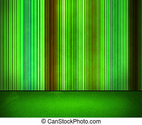 Green Lines on the Wall Interior