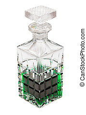 Green liquid crystal - Crystal bottle with green liquid on a...