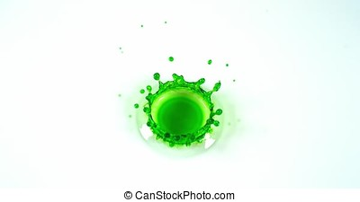 Green Liquid falling into Water against White Background, Slow motion