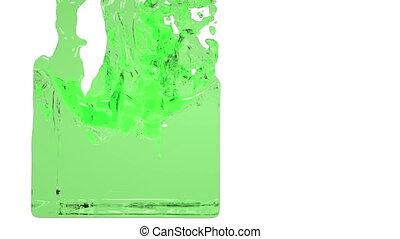 green liquid fills up a container. transperent liquid