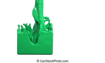 green liquid fills up a rectangular container. Colored paint