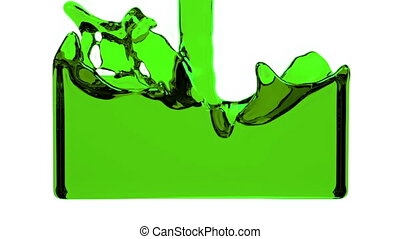 green liquid fills up screen, with alpha channel FULL HD