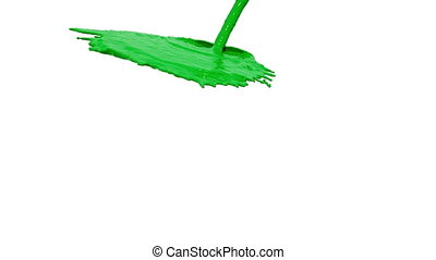 green liquid flow falls down fills background