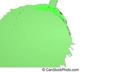 green liquid flow falls fills screen slow motion