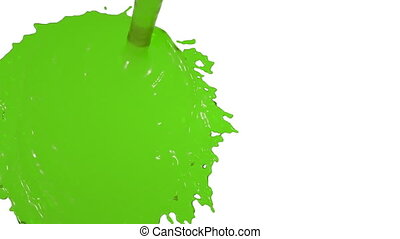green liquid flow falls from above fills screen. juice -...