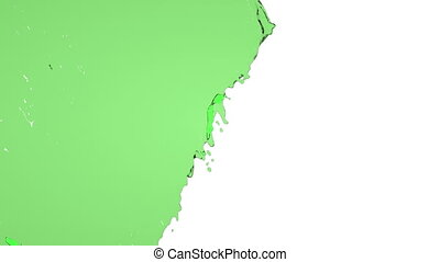 green liquid flows and fills screen slow motion
