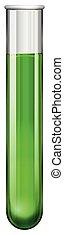 Green liquid in glass tube