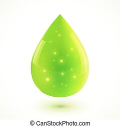 Green liquid isolated vector drop