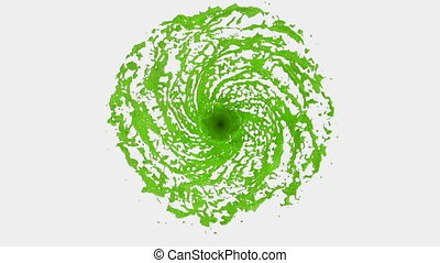 Green Liquid tornado. Beautiful colored paint whirl....