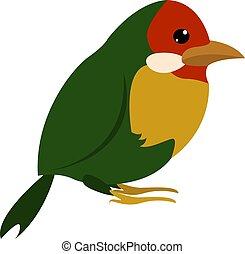 Green little bird, illustration, vector on white background.