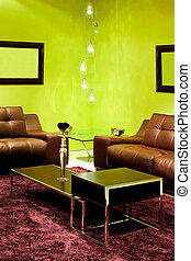 Green living detail - Detail of contemporary living room...