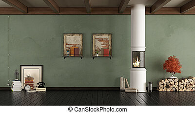 Green living room with wood stove