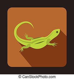 Green lizard icon, flat style