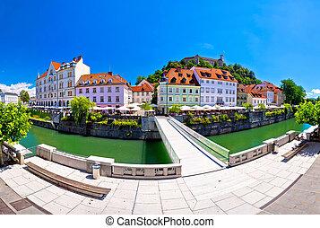 Green Ljubljana riverfront panoramic view