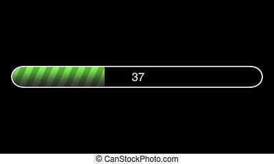 Green Loading Bar Animation, Progress Bar On Computer Screen / Web Page - Black Background - 4K Ultra