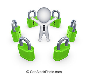 Green locks around happy 3d small person.