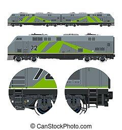 Green Locomotive ,Rail Transportation