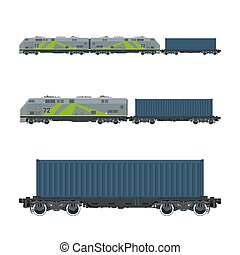 Green Locomotive with Cargo Container