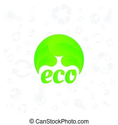 Green logo of ecology wth icons on the background