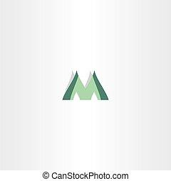 green logo of letter m icon design