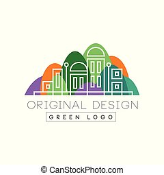 Green logo original design logo, colorful city landscape skyline, real estate vector Illustration on a white background