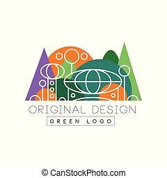 Green logo original design logo, colorful city landscape skyline vector Illustration on a white background