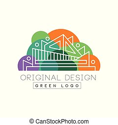 Green logo original design logo template, colorful city landscape, building construction vector Illustration on a white background