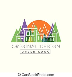 Green logo original design logo template, colorful city landscape skyline, real estate vector Illustration on a white background