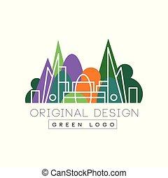Green logo original design, park and city buidings colorful...