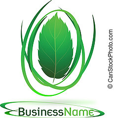 green logo with leaf