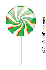 Green lollipop on white