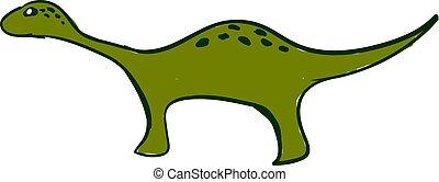 Green long dinosaur, illustration, vector on white background.