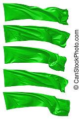 Green long flags set