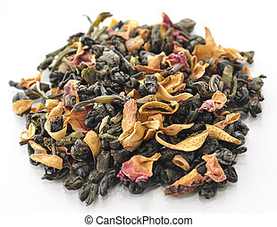 green loose tea with fruits and flowers